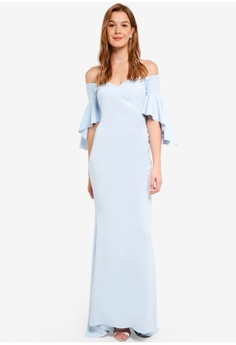 1d9861aded7 Goddiva. Off The Shoulder Maxi Dress With Short Frilled Sleeves