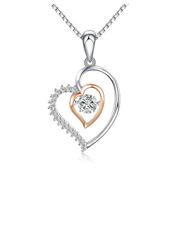 Glamorousky white Fashion 925 Sterling Silver Heart Pendant with White  Austrian Elements Crystal and Necklace B9223AC4B794FDGS_1