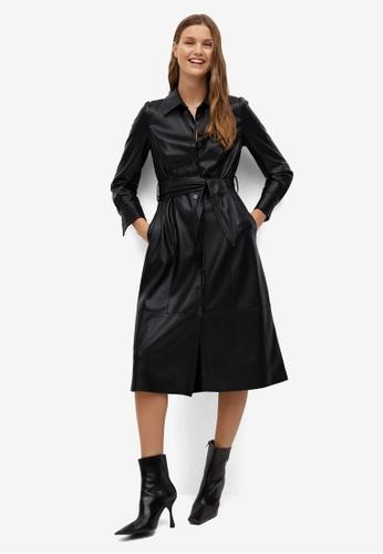 Mango black Faux-Leather Shirt Dress 275FFAAA7ECB46GS_1