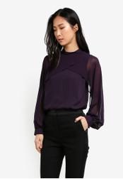 WAREHOUSE purple Layered Cape Top WA653AA0SBZJMY_1