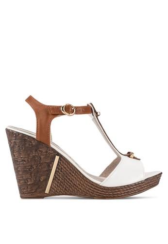 木質繞踝繫帶露趾楔型鞋, esprit 京站女鞋, 鞋