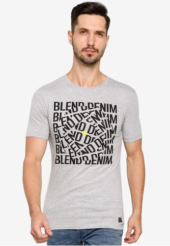 BLEND grey Graphic Text Crew Neck T-Shirt 24F15AAF646831GS_1