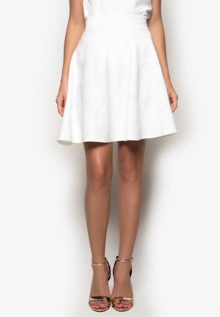 Embossed Fab Knee Length Aline Skirt