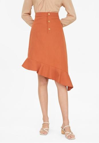 Pomelo orange Asymmetric Frill Trim Skirt - Orange B4954AA3C151DEGS_1