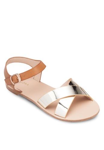 撞色交叉寬帶平底涼鞋, 女鞋zalora退貨, 鞋