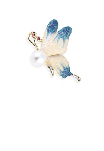 Glamorousky white Fashion and Elegant Plated Gold Enamel Blue Butterfly Imitation Pearl Brooch with Cubic Zirconia D9C27AC4872051GS_1