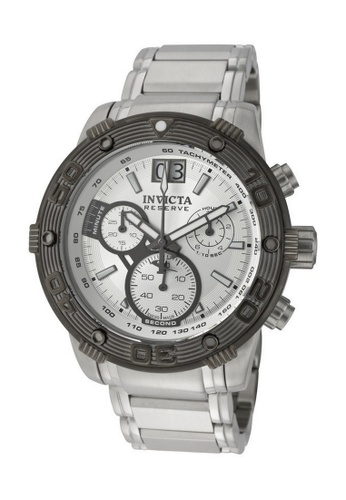 INVICTA grey Invicta Reserve Men 47mm Case Silver Stainless Steel Strap Silver Dial Quartz Watch 10590 w/ Cap IN968AC0FKHKSG_1