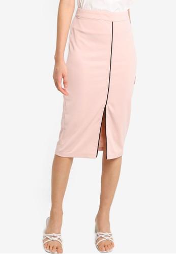 ZALORA BASICS pink and beige Contrast Stitch Detail Midi Skirt A62F1AA6353E4CGS_1