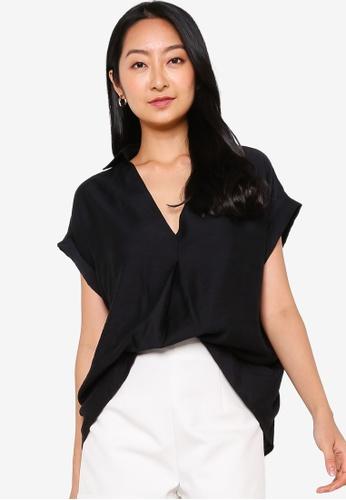 ZALORA BASICS black Textured Short Sleeve Top 7213FAABBF516DGS_1