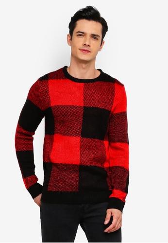 Jack & Jones 紅色 圓領針織衫 2761AAAE4BDD9FGS_1