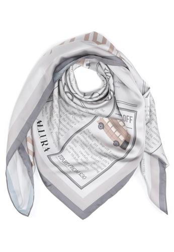 "Modest-Runway Inc. grey and beige ALLURA ""The British Charm"" Classic Newspaper COTTON Scarf/Hijab 44B09AAB7CEAD0GS_1"