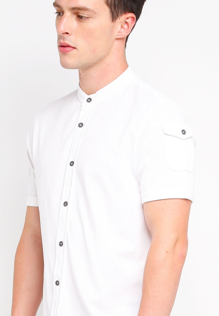Brave Optic Soul Mandarin Shirt Collar Short Sleeve White wxzaIqS