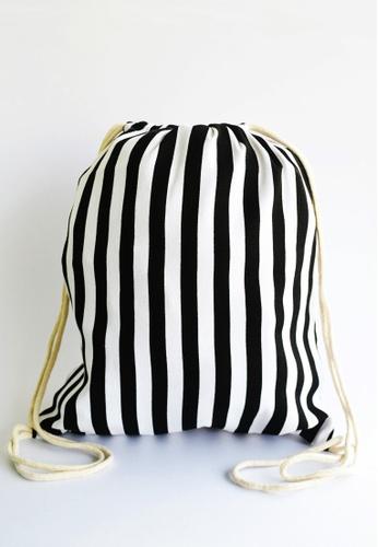 The Twinees black Black and White Striped Drawstring Bag TH572AC06VZDSG_1