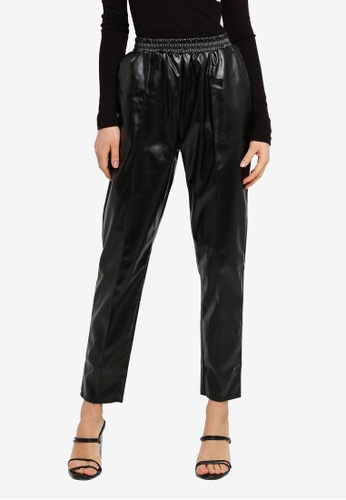 MISSGUIDED black Pu Elasticated Waist Pin Tuck Trousers EF24AAAA275BE4GS_1