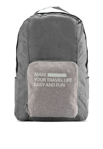 Bagstationz grey Foldable Backpack with Luggage Carrier Holder BA607AC78SDHMY_1