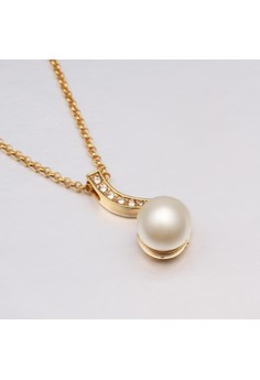 Treasure by B&D N615 Cute Musical Note Shape Pearl & Zircon Inlayed Plated Necklace