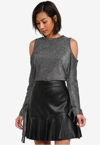 Dorothy Perkins silver Silver Lurex Cold Shoulder Top DO816AA0S79TMY_1