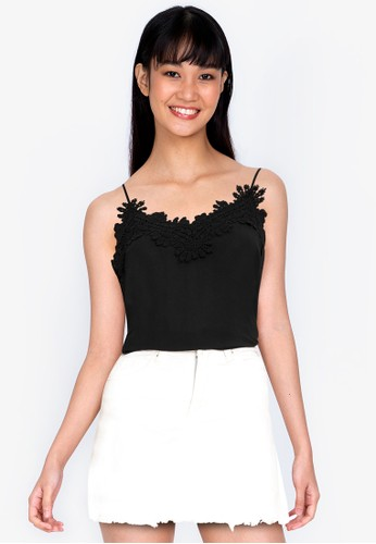 ZALORA BASICS black Lace Trim Cami Top 4AABEAA3B9286CGS_1