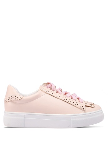 Something Borrowed pink Fringe Lace Up Sneakers 0F462SHAACCCD3GS_1