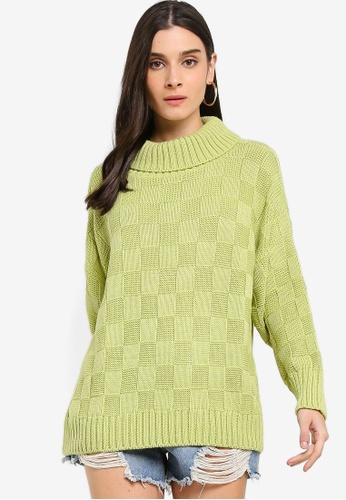 Glamorous green Checkered Pattern Knitted Jumper 69A9DAAAFF55B2GS_1