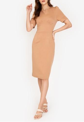 ZALORA WORK brown Notch Neck Puff Sleeve Dress E9BC6AA9F435C7GS_1