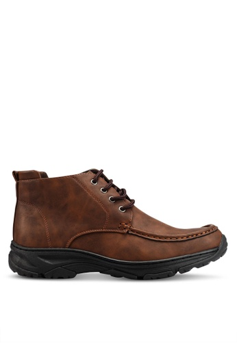 Rocklander brown Matarazo Faux Leather Ankle Boots 9B86ASH0A10FC1GS_1