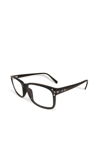 ASLLY black Sparkle tunnel│Anti-blue light glasses with black rectangle frame 92FBFGLA1C8A7BGS_1