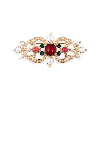 Glamorousky white Elegant Vintage Plated Gold Geometric Imitation Pearl Brooch D28A8AC570603EGS_1
