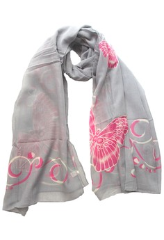 harga Poly Printed Butterfly Scarf Grey Zalora.co.id