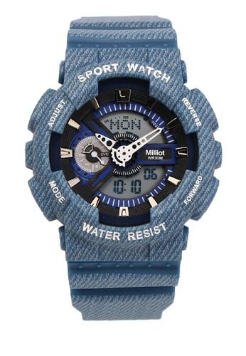 Milliot & Co. 藍色 Nick 手錶 D4C86ACFD4EAFFGS_1