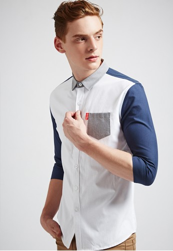 韓系簡約。配色剪接。七分袖襯衫-03617-深藍, 服飾, esprit hk store素色襯衫