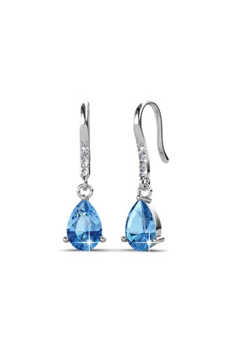 Her Jewellery blue Swarovski® Crystals - Dew Drop Earrings (Blue) (18K White Gold Plated) Her Jewellery HE581AC0REN7MY_1