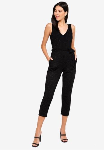 5b8deb2cff Dorothy Perkins black Petite Black Glitter Jumpsuit E7AF7AAAC094C6GS 1