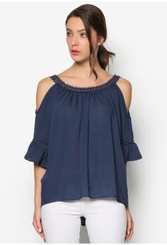Cold Shoulder Blouse With Lace Trim