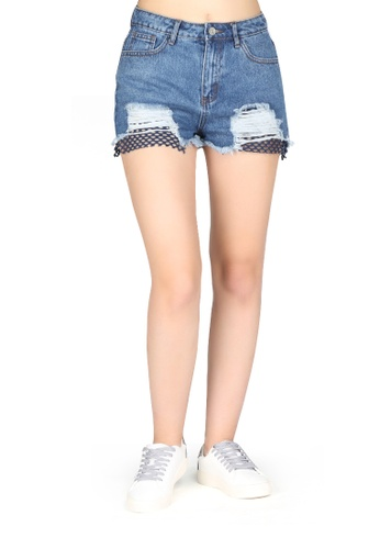 London Rag blue Blue Mid Wash Ripped Denim Shorts E7048AA7545285GS_1