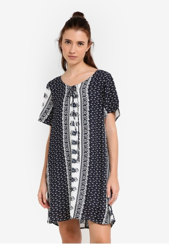 Something Borrowed navy Printed Sleeved Lace-up Dress E0FC5AA39B109DGS_1