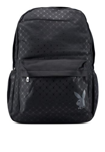 Playboy black Printed Backpack E3164AC347BB21GS_1
