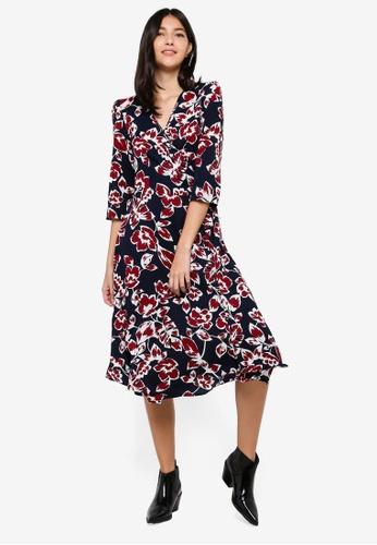 ZALORA multi and navy Wrap Midi Dress 8122BAA5D468F8GS_1