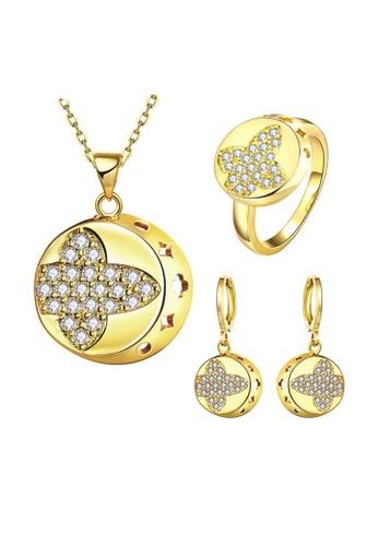 Treasure by B & D gold S060-A Gold Zircon Fashion Round Design Jewellery Set TR022AC90VARPH_1