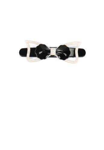 Glamorousky silver Simple Temperament Black and White Ribbon Hair Slide 06DA2AC4569D07GS_1