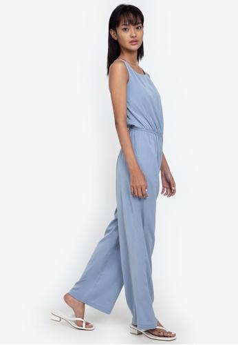 ZALORA BASICS blue Sleeveless Tie Back Jumpsuit 4C443AA781188CGS_1