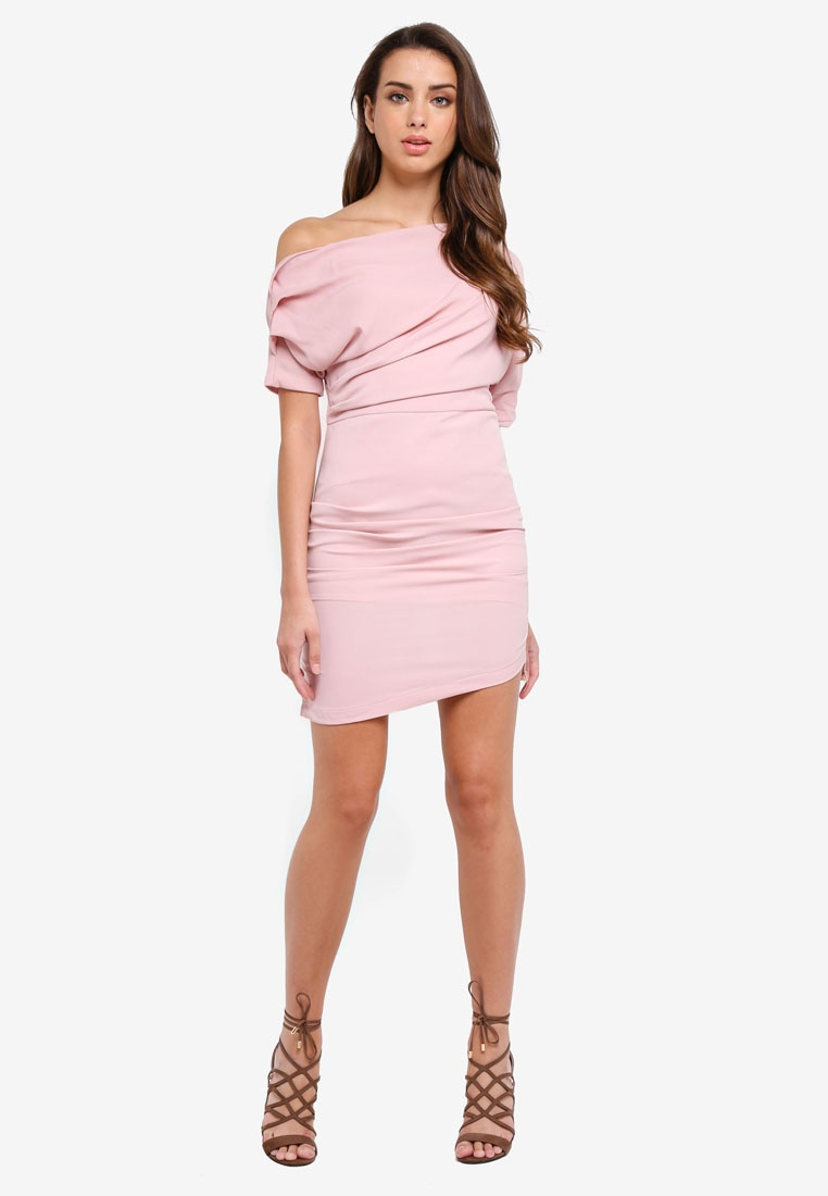 Shoulder Asymmetrical Dusty Pink Dress KLEEaisons 7wP08