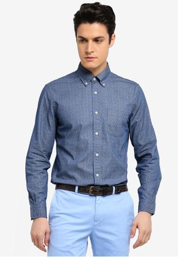 Brooks Brothers 海軍藍色 休閒長袖印花襯衫 2DCFCAA9066DEFGS_1