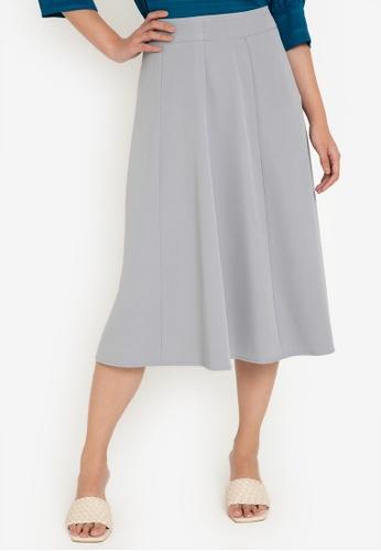 ZALORA WORK grey Gored Midi Skirt 5B532AA5674250GS_1