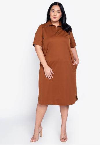 Maxine brown Plus Size Short Sleeves Shirtdress 29748AA232D134GS_1