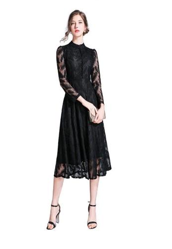 Crystal Korea Fashion black New Long-sleeved Temperament Waist Over The Knee Lace Dress 18029AA3B52D20GS_1