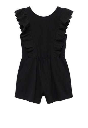 MANGO KIDS black Short Ruffle Jumpsuit 0B301KA78E6A9AGS_1