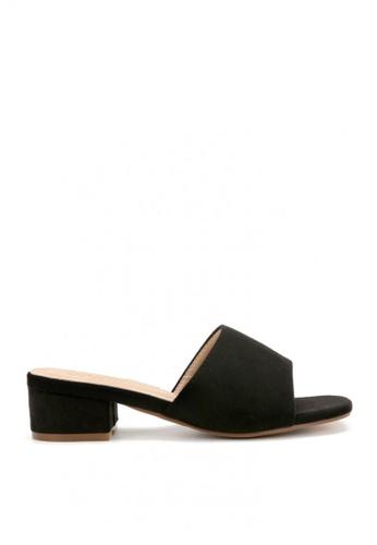 KissXXX 黑色 清新氣質馬卡龍色系絨面小方頭一字款中跟時尚拖鞋 KI603SH09LEXTW_1