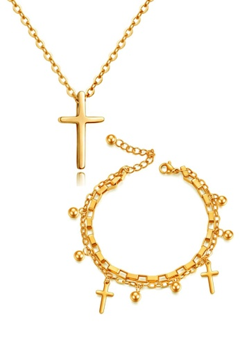 CELOVIS 金色 CELOVIS - Krissy項鍊搭配Genesis手鍊十字架首飾套裝(金色) 9167EAC692D193GS_1