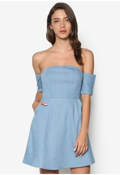 Chambray Off Shoulder Fit And Flare Dress